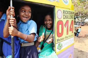 Rickshaw Challenge in India from the Travel Scientists. Race tuk tuks! We collect and bring donations for charities, orphanages, schools in the disadvantaged places we visit.