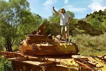 Caucasus mountains Karabakh war tank wreck