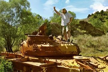 Caucasus mountains Karabakh war tank wreck
