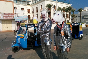 Rickshaw Challenge Classic Run Chennai to Trivandrum crazy adventure tuk tuk race in India unicorn costume horse mask