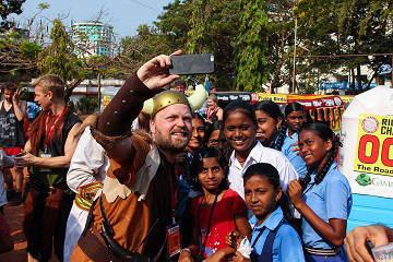 Rickshaw Challenge Malabar Rampage tuk tuk race in India Viking selfie