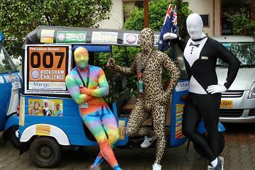 Rickshaw Challenge Deccan Odyssey tuk tuk race in India crazy gimp suit