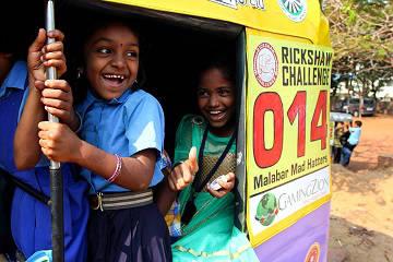 Rickshaw Challenge Malabar Rampage tuk tuk race in India little girls from orphanage