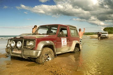 Caucasus adventure rally Black Sea coast 4x4 stuck in beach sand
