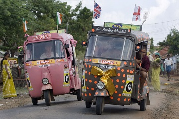 Rickshaw Challenge is a wacky race in India from the Travel Scientists. Race tuk tuks! Give locals something to see and enjoy!