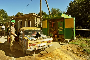 Caucasus shabby petrol station gas third world