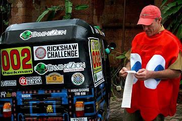 Rickshaw Challenge Deccan Odyssey tuk tuk race in India Pacman ghost costume