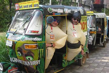 Rickshaw Challenge Malabar Rampage tuk tuk race in India sumo costume