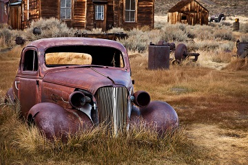 Wild West Challenge abandoned car in frontier ghost town Bodie California