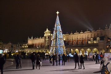 Winter wonderland Krakow main square Poland