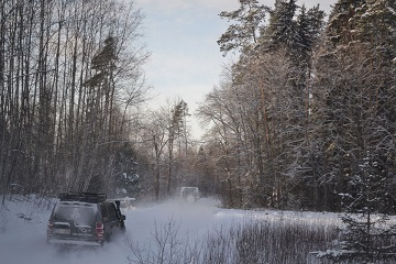 Winter forest driving Baltic Run snowy adventure