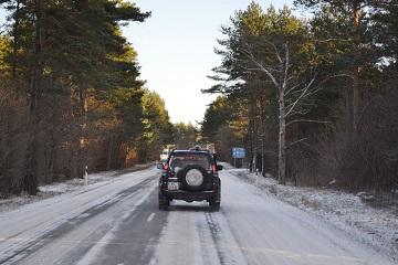 winter highway Baltic Run snow adventure driving Latvia