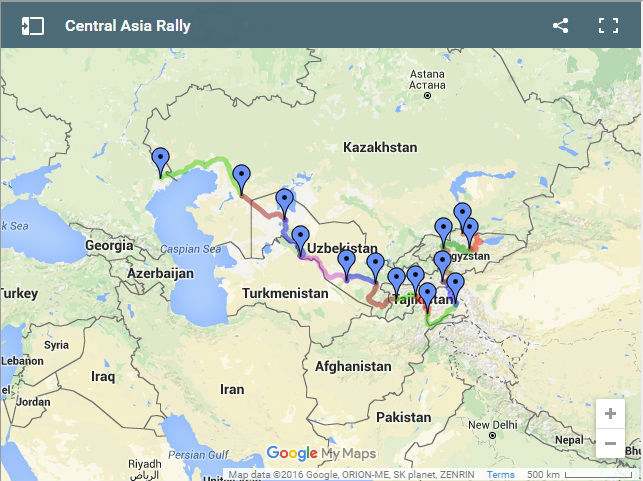 Central Asia Rally route adventure