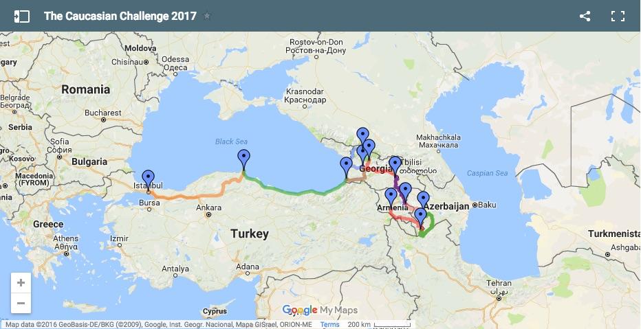 Travel Scientists Caucasian Challenge adventure trip route