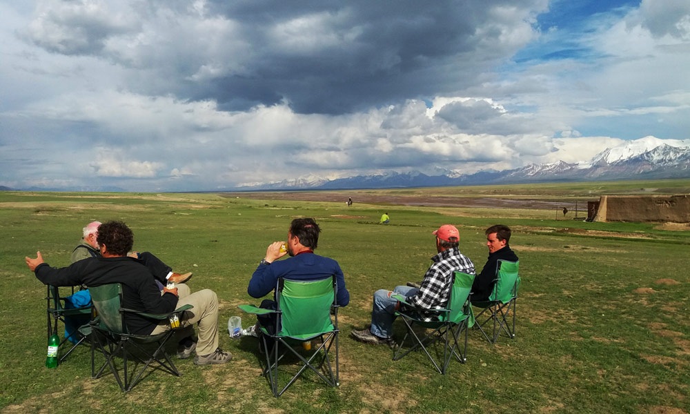 Teams relaxing during the Central Asia Rally