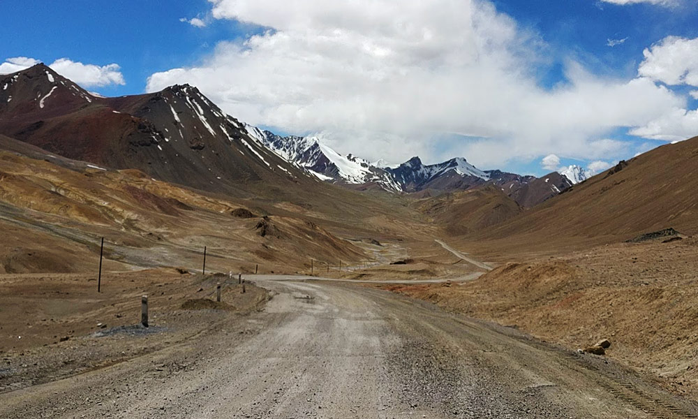 Road in the Pamir Mountains Central Asia Rally
